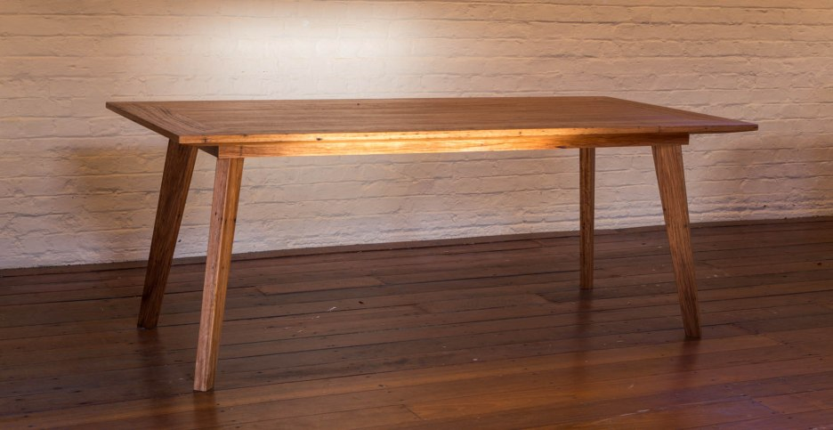 Recycled Blackbutt, finished in Osmo Hardwax oil, 6 seater, 8 at a pinch. 2000 x 93 x 76 cm